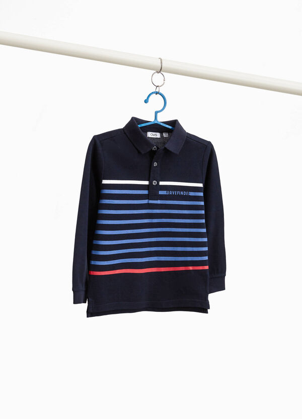 Polo shirt in 100% cotton with striped print