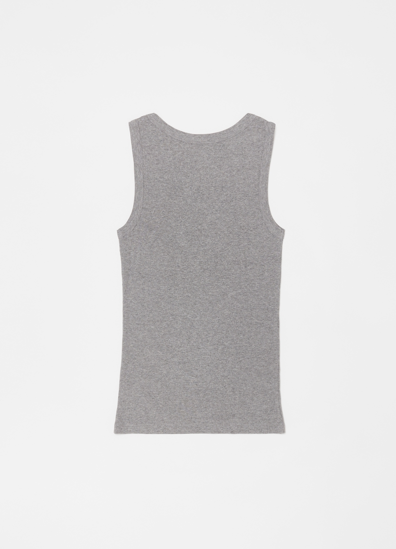 Cotton and viscose racerback vest with wide straps image number null