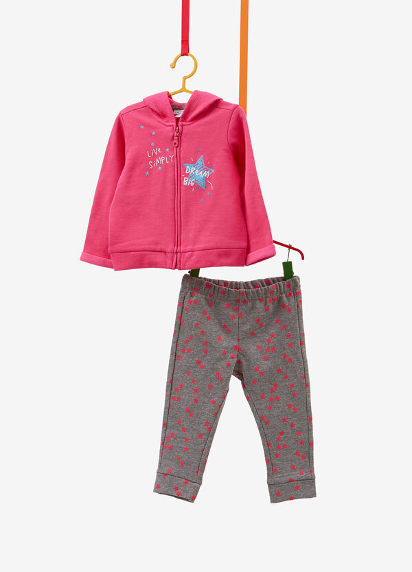 Tracksuit in cotton with glitter and stars pattern print