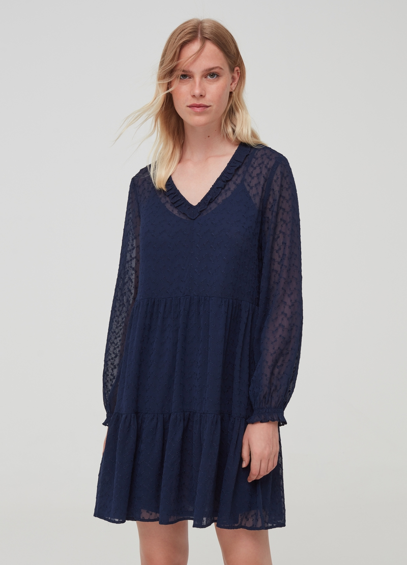 Semi-sheer dress with all-over embroidery image number null