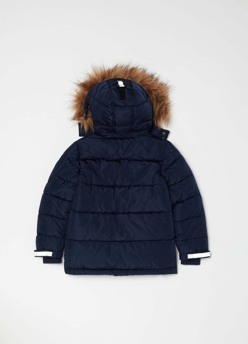 Parka with quilting and fur image number null