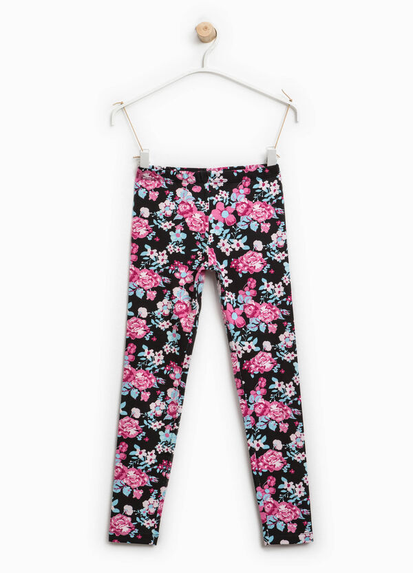 Stretch cotton floral leggings | OVS