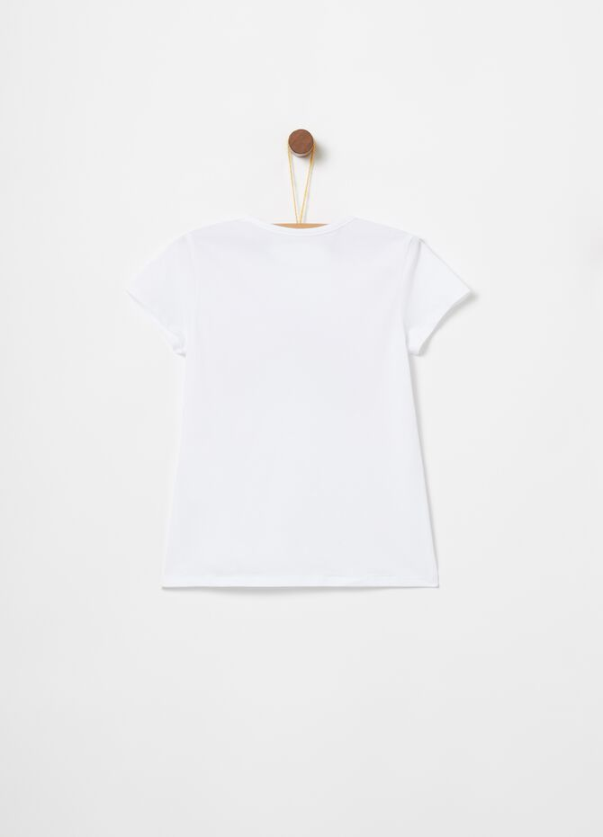 T-shirt biocotton stretch con paillettes