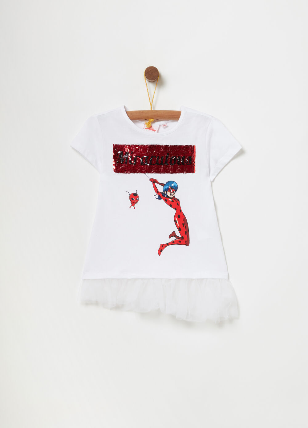 T-shirt with tulle and print with sequins
