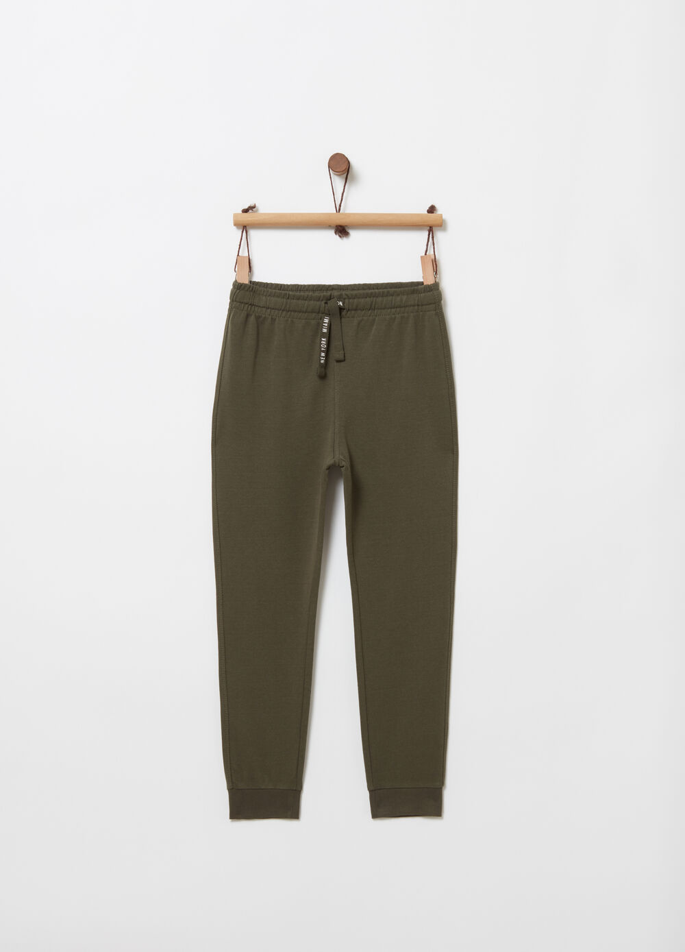 Regular-fit trousers with print on the drawstring