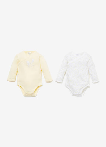 Two-pack teddy bear patterned bodysuits
