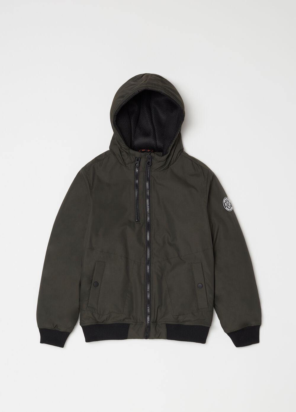 Padded bomber jacket with zip and print
