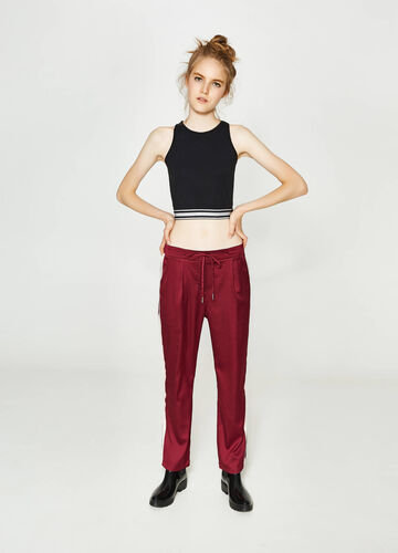 Stretch cotton crop top with glitter