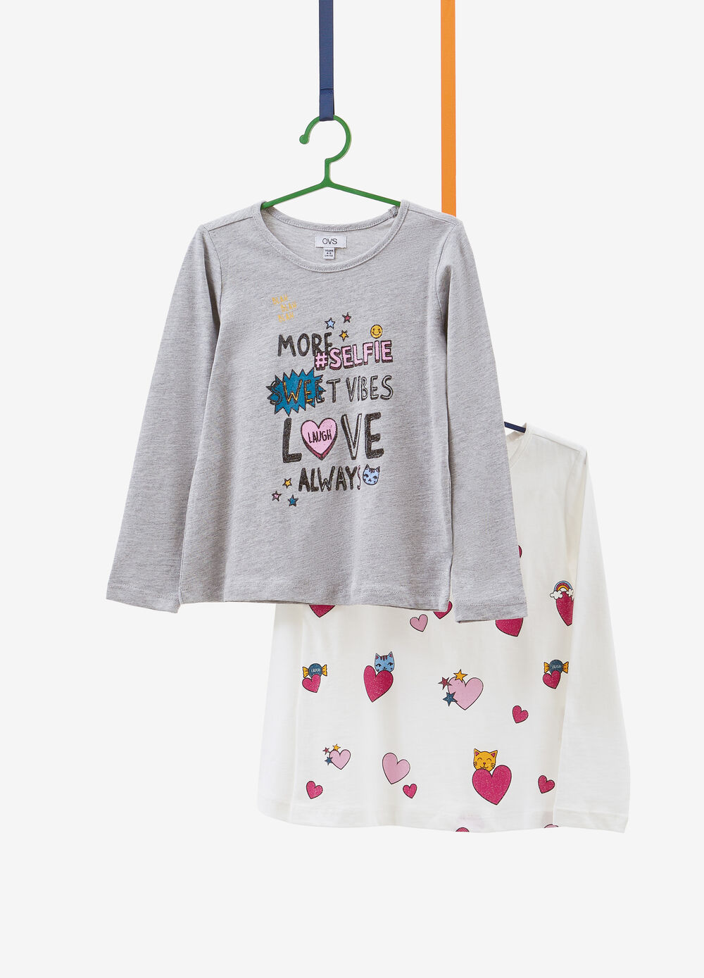 Two-pack T-shirts with lettering and hearts