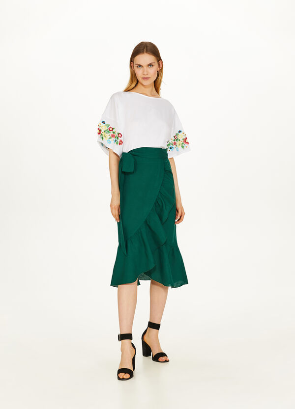 Linen and viscose longuette skirt