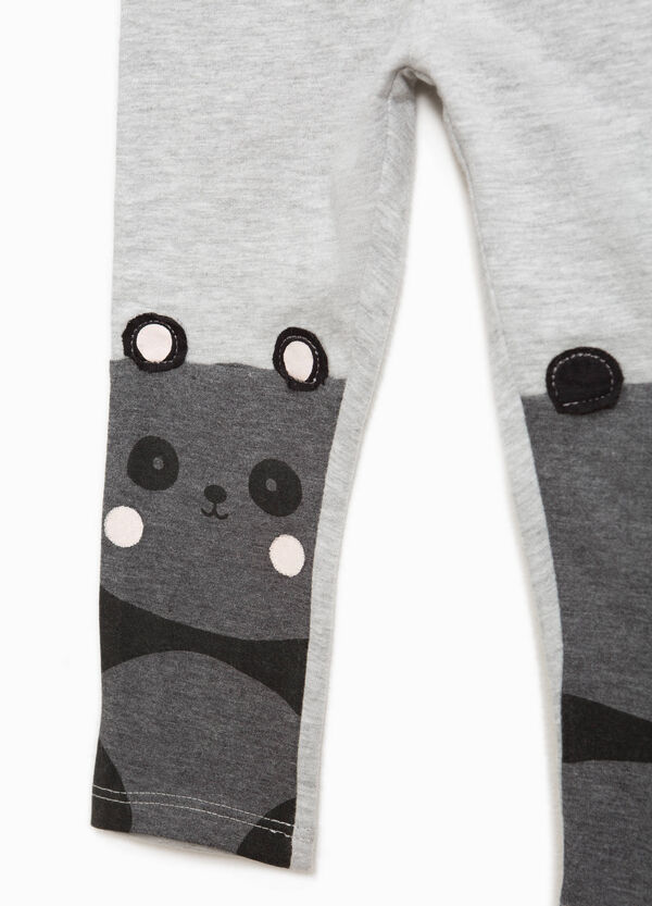 Cotton leggings with panda print