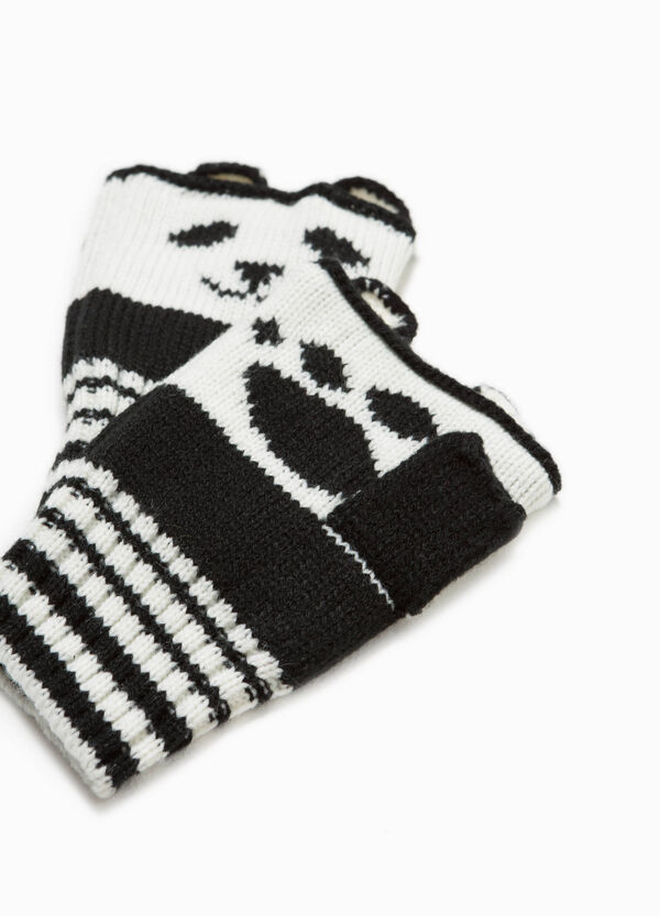 Fingerless gloves with striped embroidery | OVS