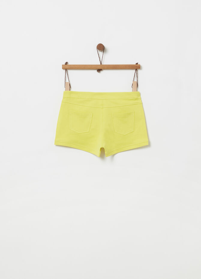 Lightweight cotton shorts with snap button