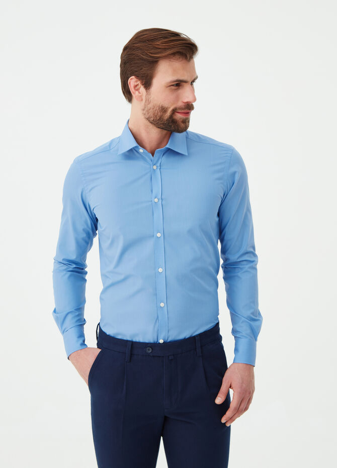 Slim-fit shirt in cotton blend poplin