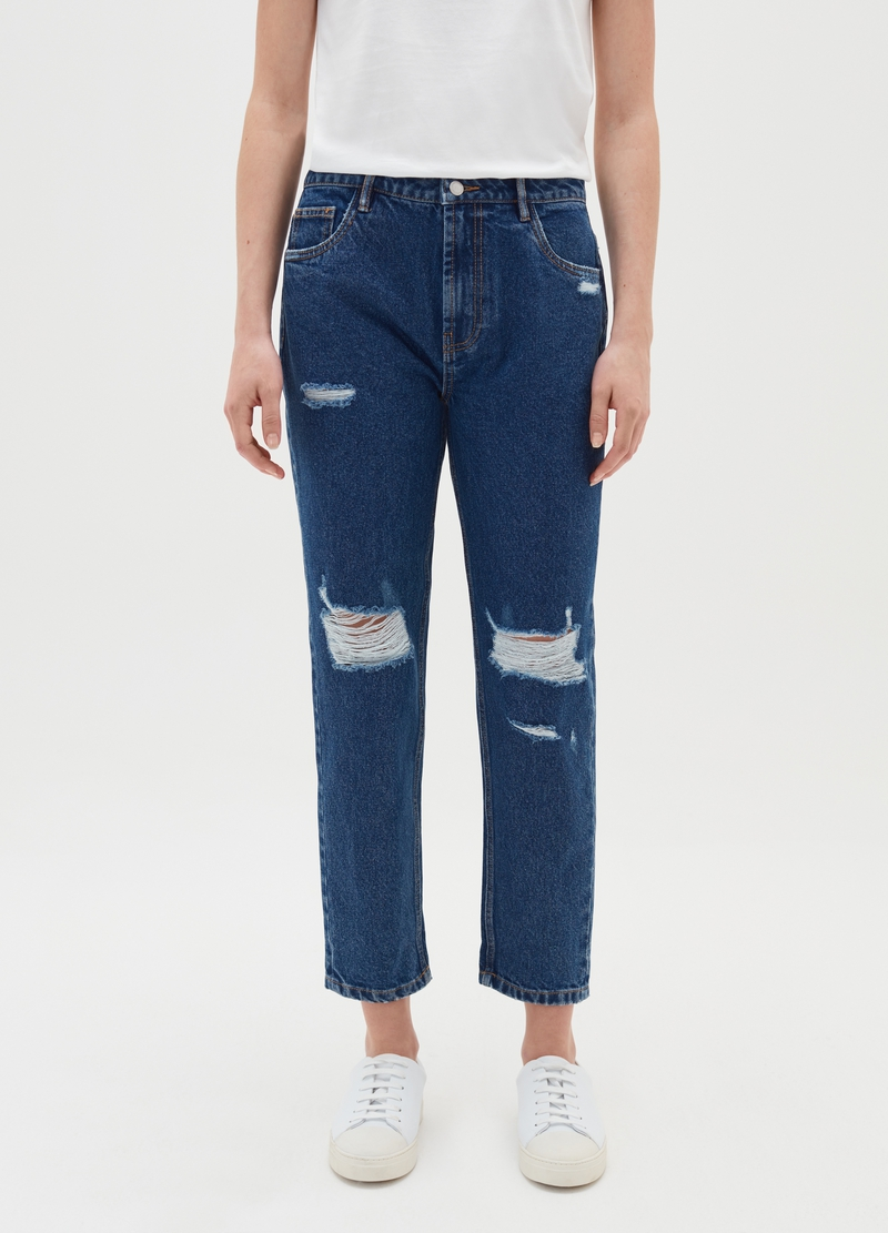 Mum-fit jeans in cotton with rips image number null