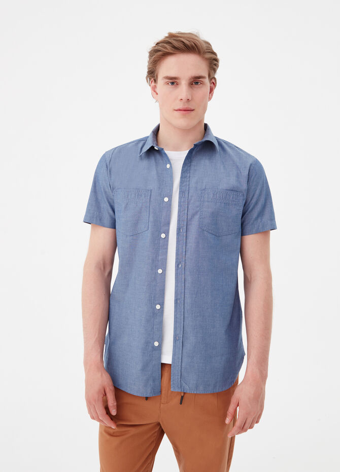 Camicia slim fit in chambray di cotone