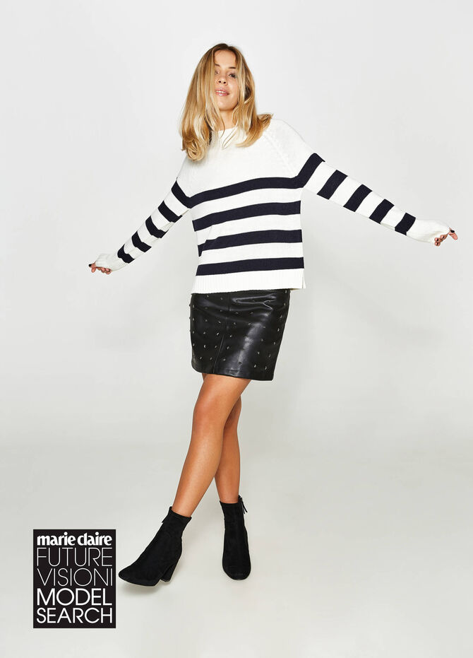 Pullover with striped high neck