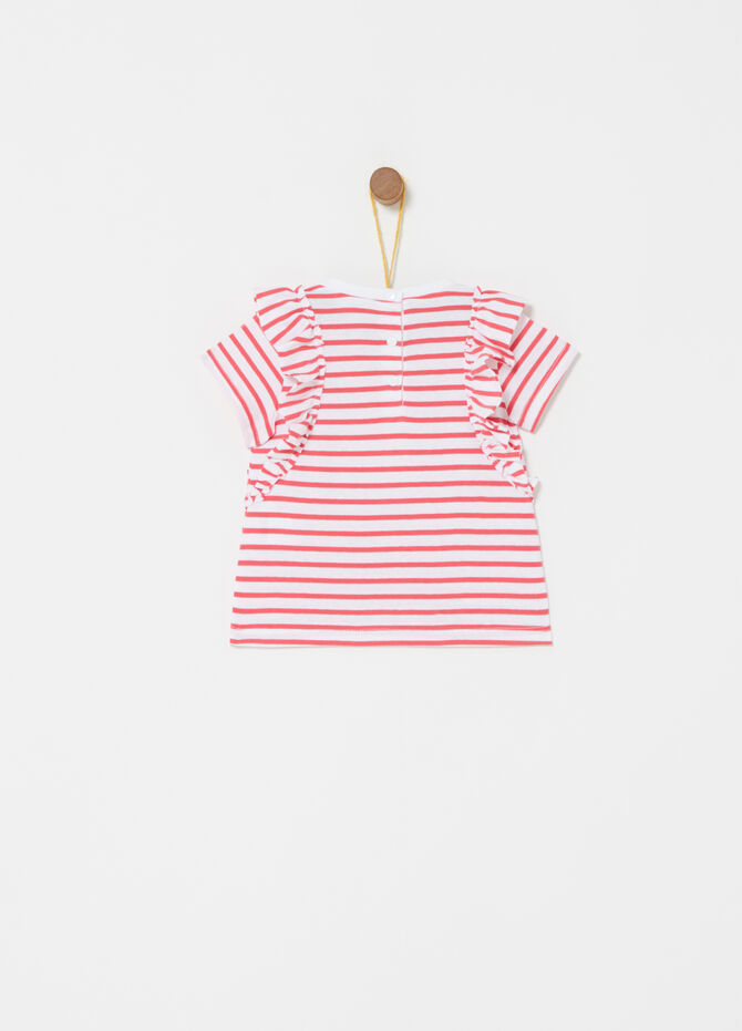T-shirt with frills and striped pattern