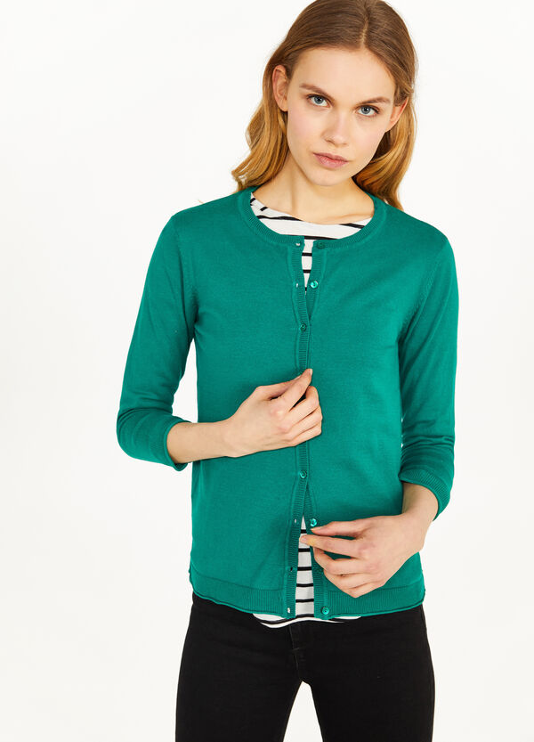 Cotton blend cardigan with three-quarter sleeves