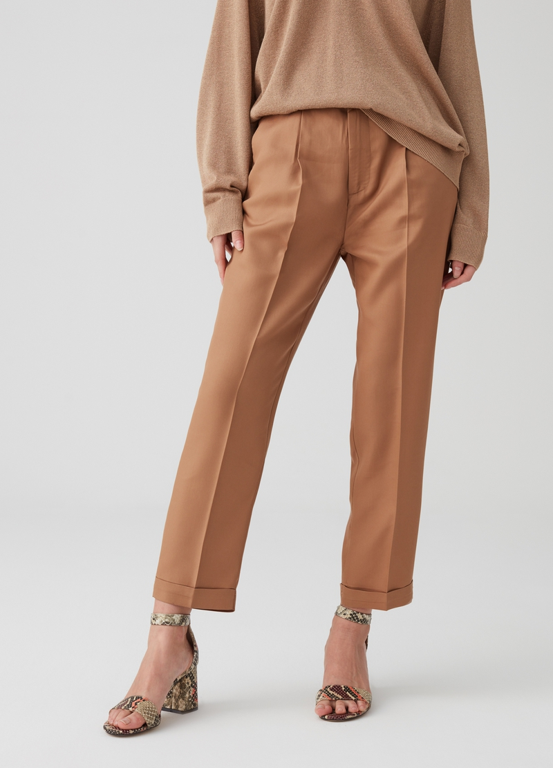 Crop chino trousers in 100% lyocell image number null