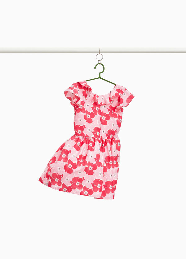 Dress with flounce and floral print