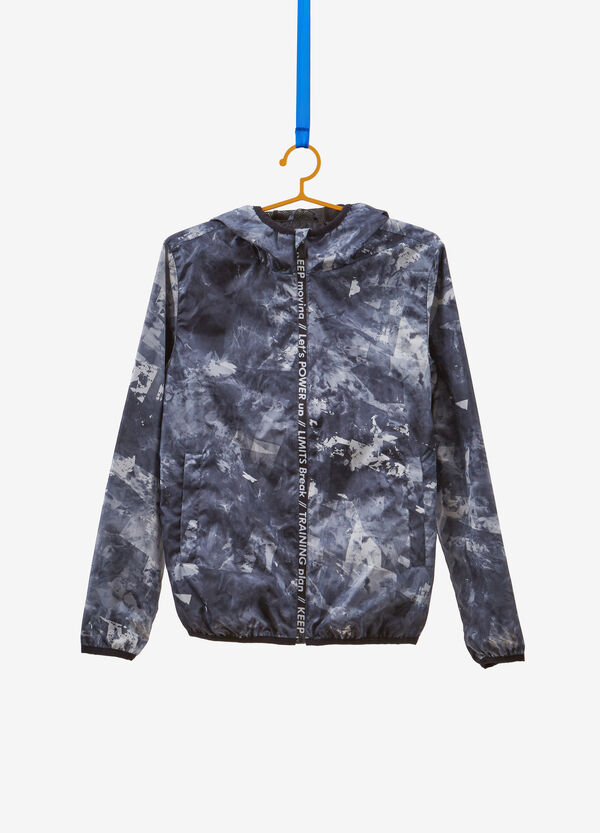 Jacket with hood and all-over print