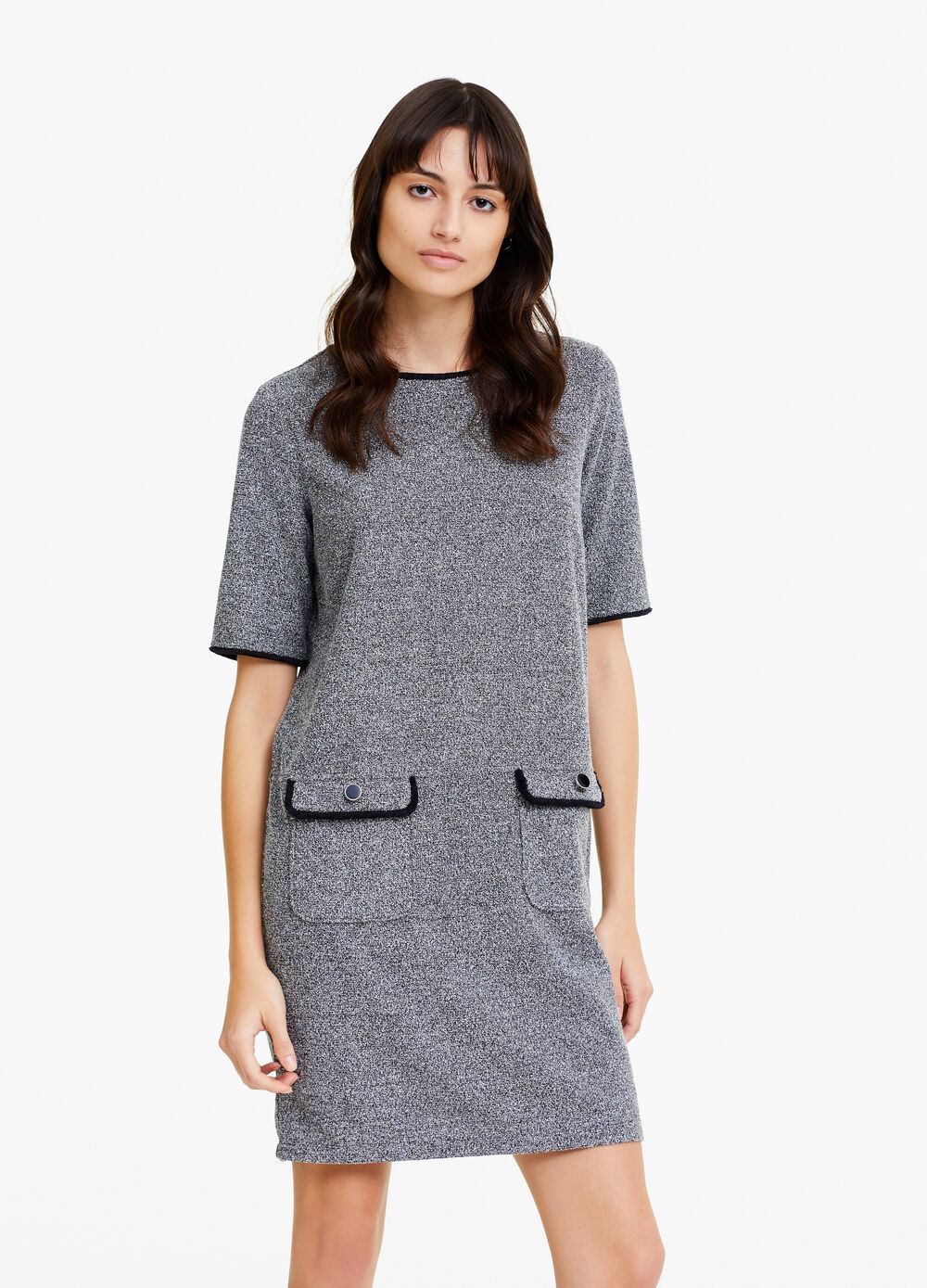 Knitted mélange dress with pockets