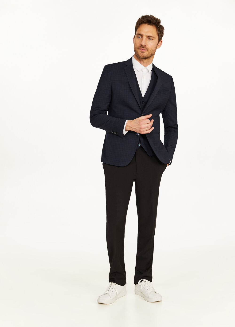 Elegant, slim-fit jacket with micro check pattern