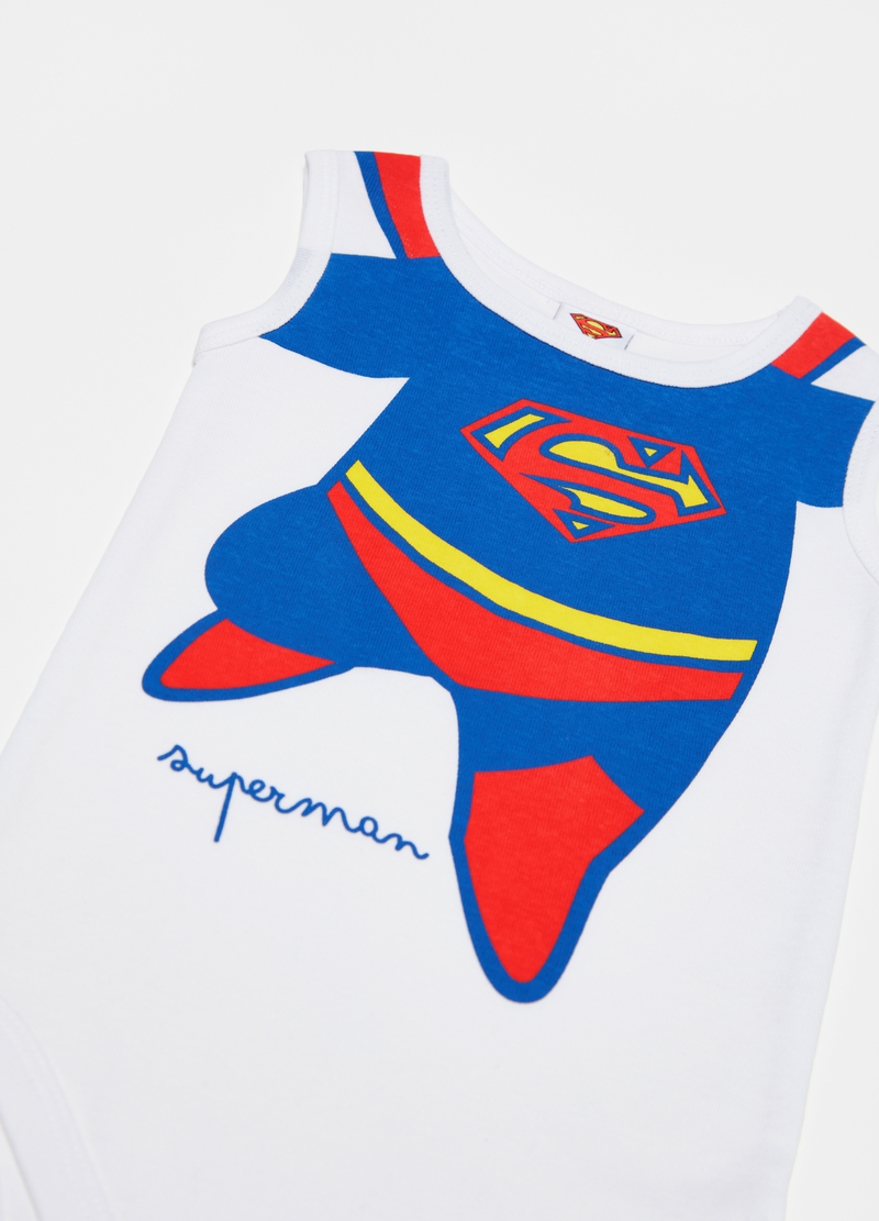 Sleeveless bodysuit in cotton and Superman print image number null