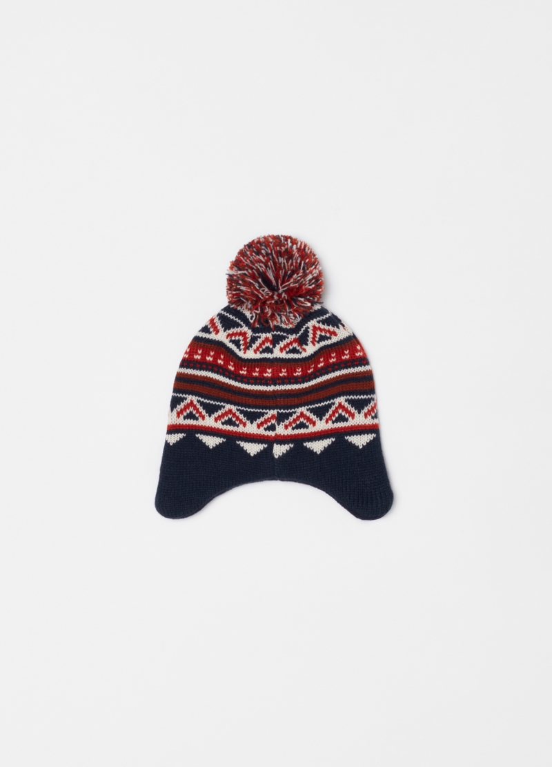 Hat with jacquard pompom image number null