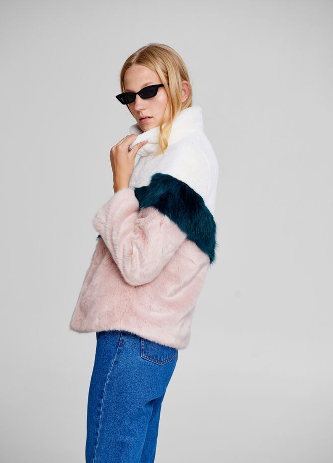 Faux fur jacket with high collar