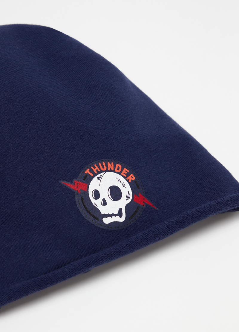 Stretch hat with skull print image number null