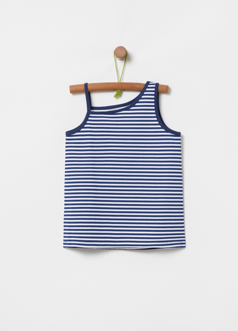 Tank top with striped glitter print image number null