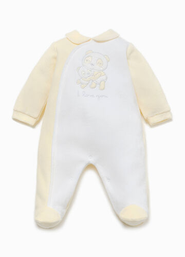 Cotton onesie with panda patch