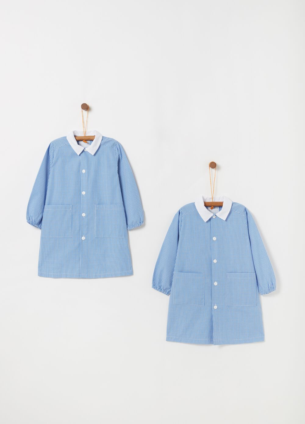 Two-pack smocks with micro-check pattern