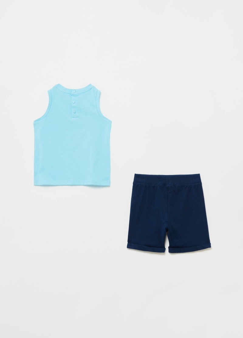 Jogging set consisting of tank top and shorts with print image number null