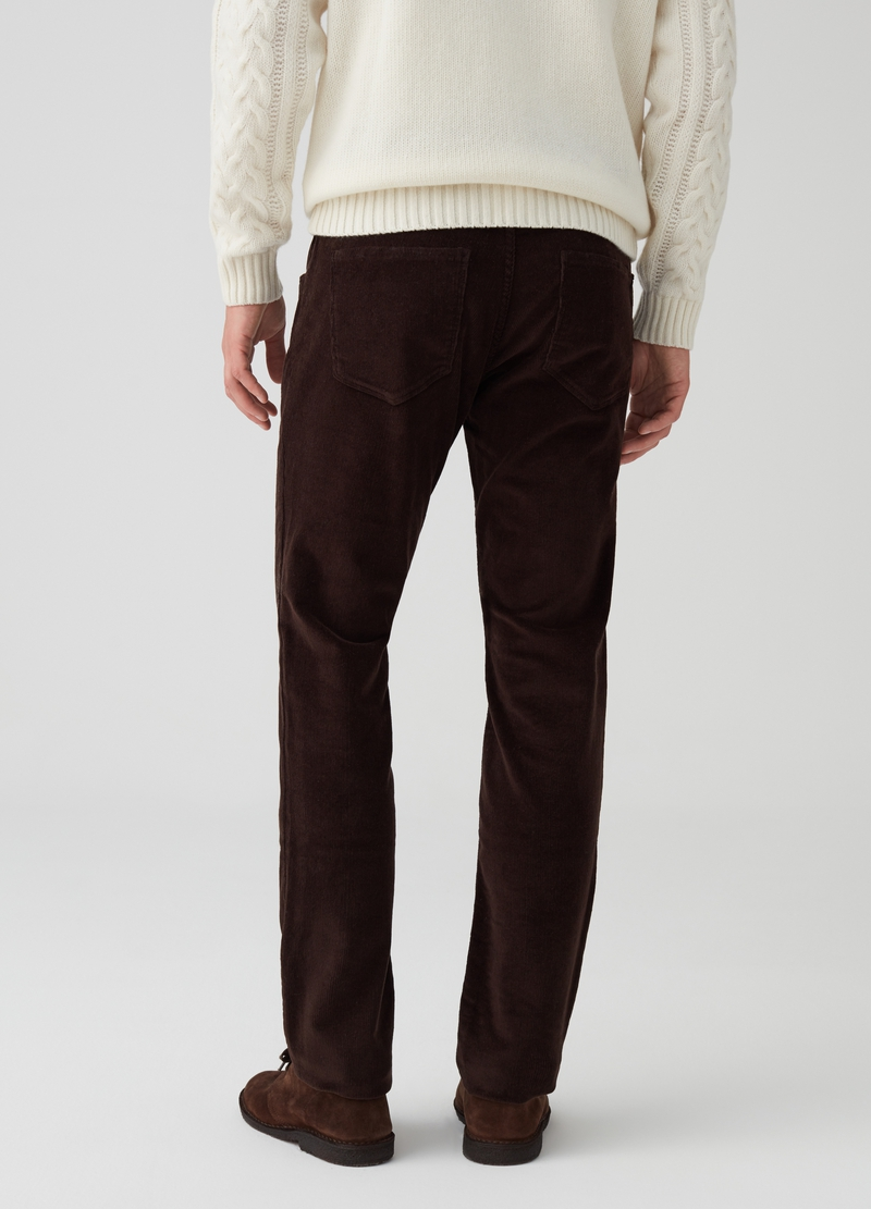 Solid colour slim-fit corduroy trousers. image number null