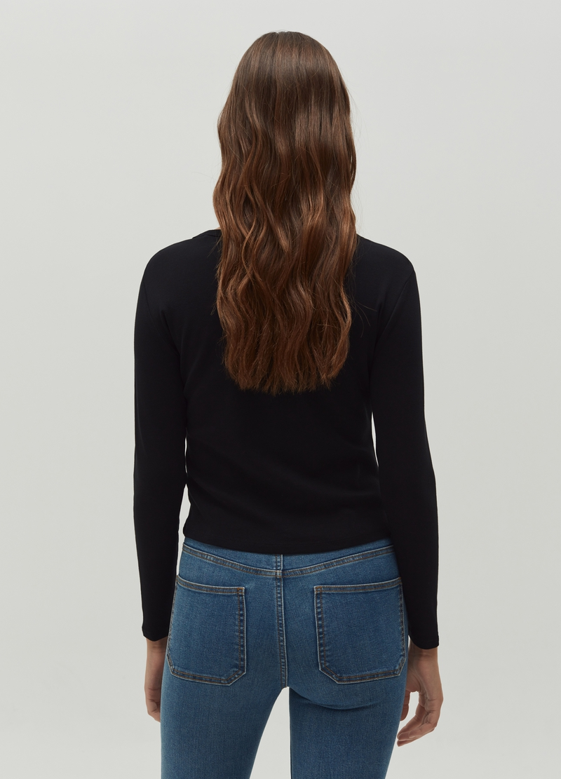 Long-sleeved T-shirt with faux buttons image number null