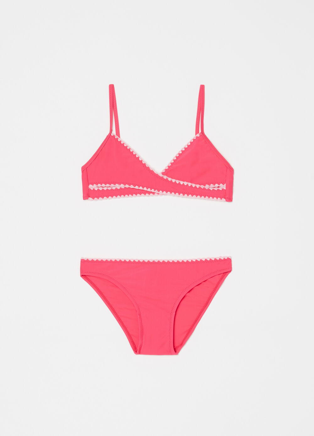 Stretch bikini with crossover top and briefs