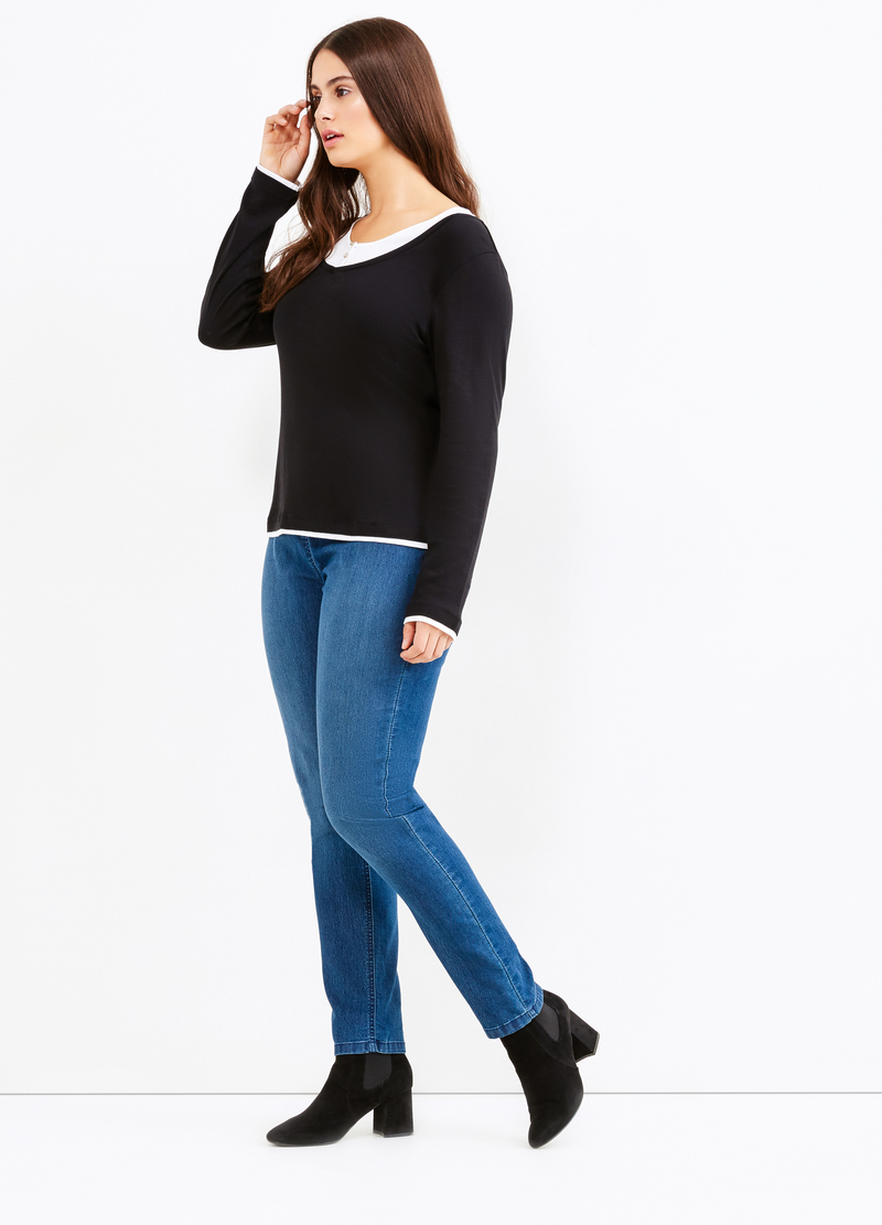 Curvy faux layered cotton T-shirt image number null