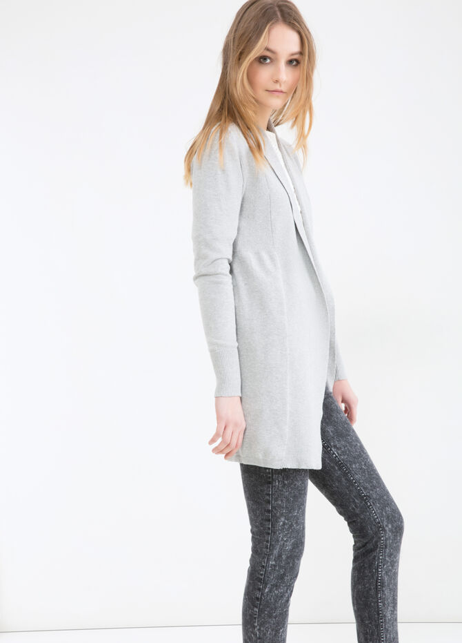 Solid colour cotton blend cardigan
