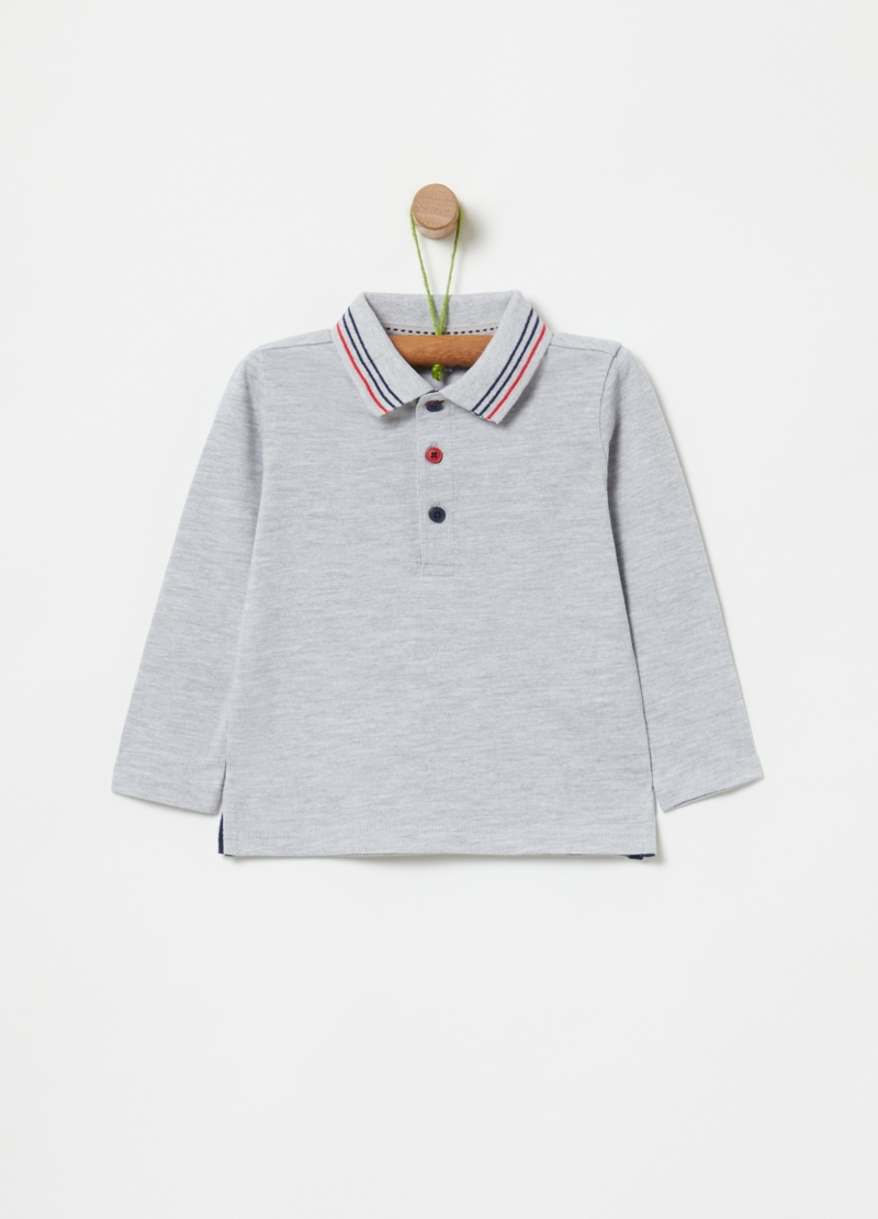 Organic cotton mélange polo shirt image number null