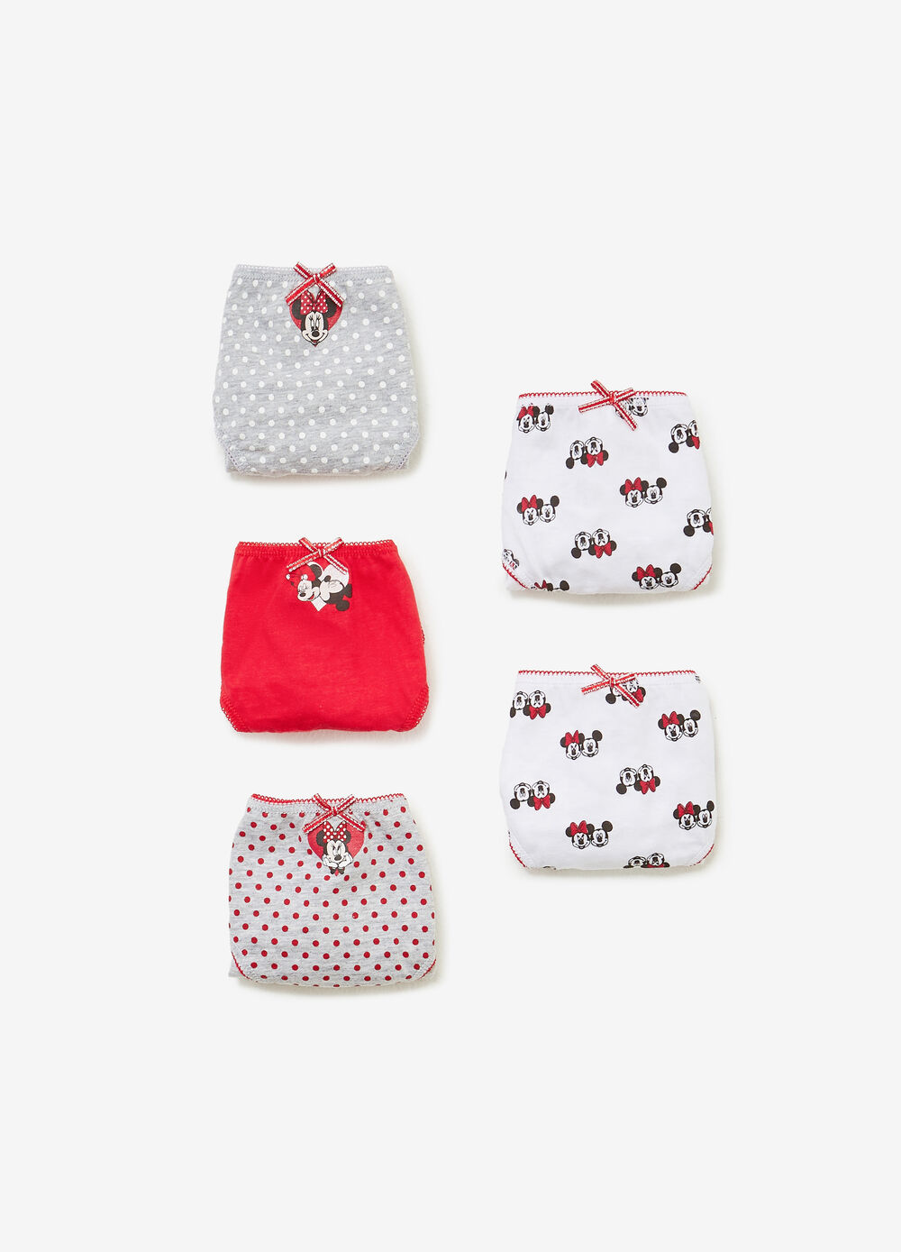 Five-pack BCI Minnie Mouse briefs in 100% cotton