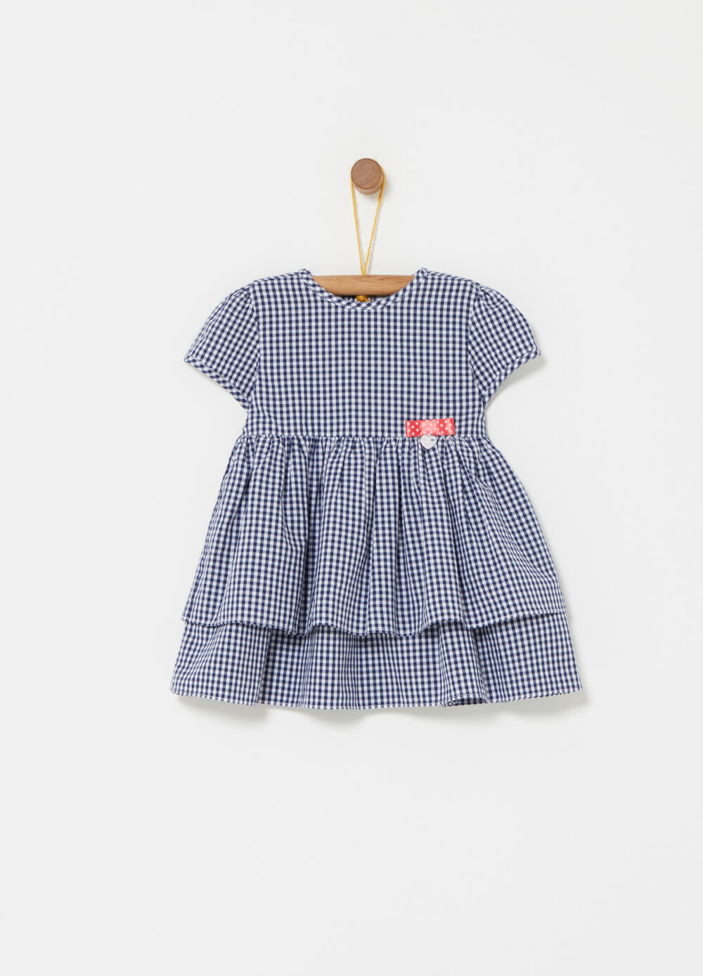 Vichy dress with bow and flounces