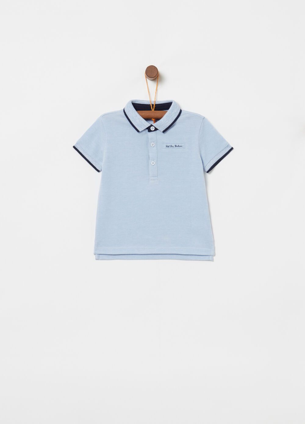 Organic cotton piquet polo shirt with pocket