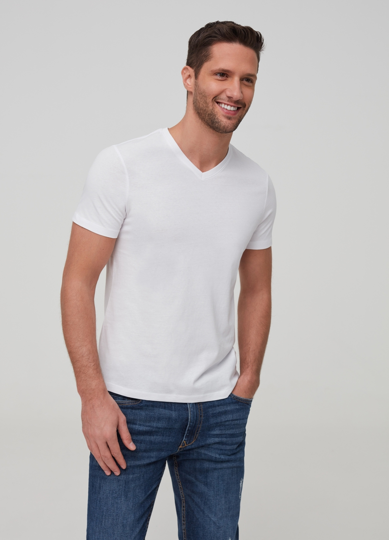 100% organic cotton T-shirt with V neck image number null