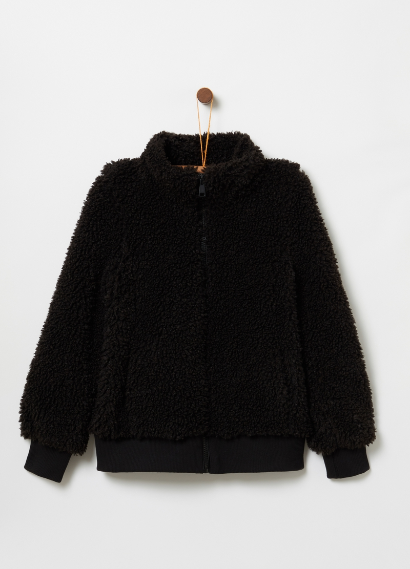 Faux fur jacket with full-zip image number null