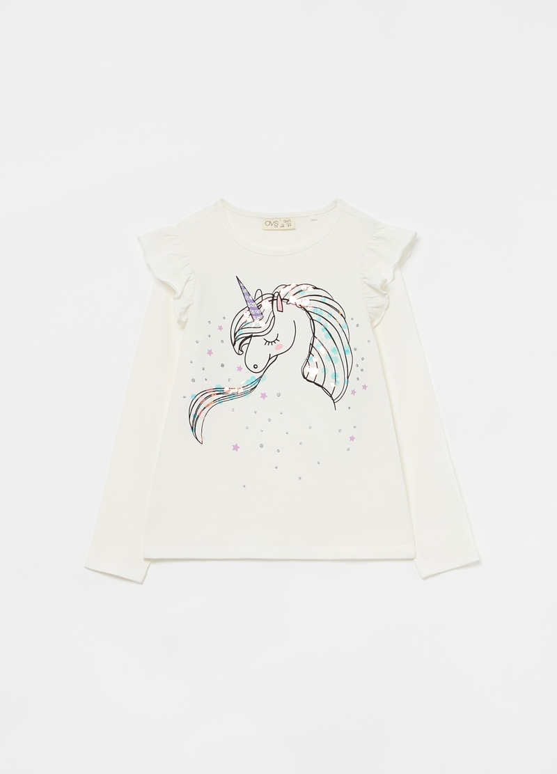 T-shirt with unicorn print and frills image number null
