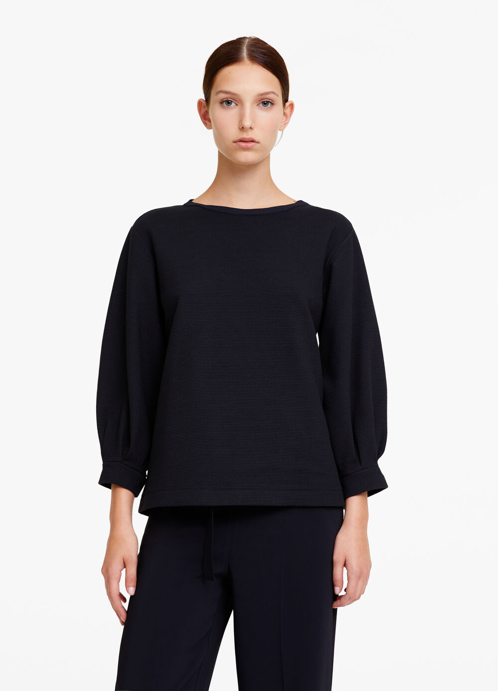 OVS Premium solid colour sweatshirt with waffle weave