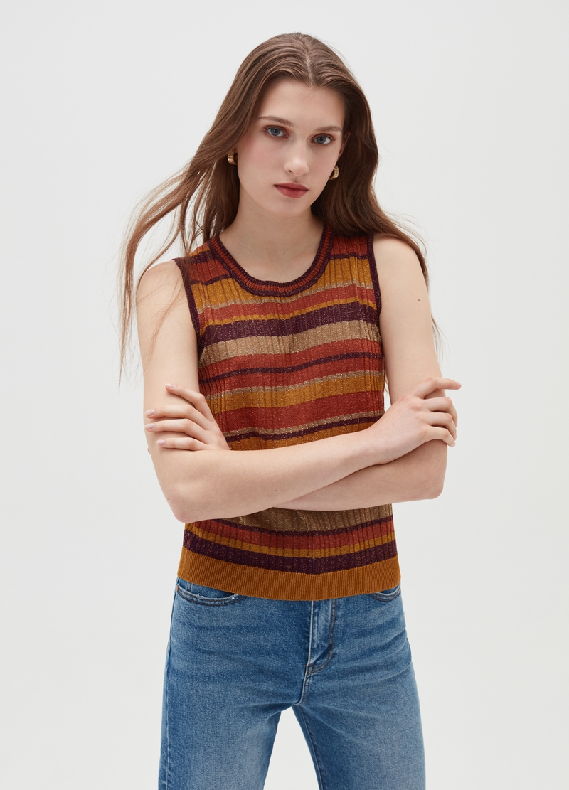 Ribbed tank top with lurex image number null